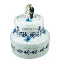 textilní dort z ručníků a osušky s dekorativní výšivkou