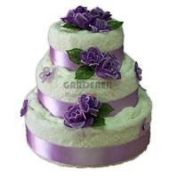 Textilní dort z ručníků a osušek s vyšívanou růží