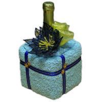 textilní kostka s minišáněm a vyšívanou vánoční hvězdou